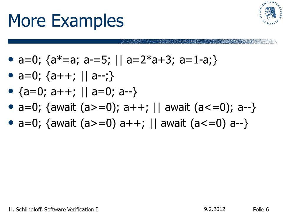 Folie 6 H. Schlingloff, Software Verification I More Examples a=0; {a*=a; a-=5; || a=2*a+3; a=1-a;} a=0; {a++; || a--;} {a=0; a++; || a=0; a--} a=0; {