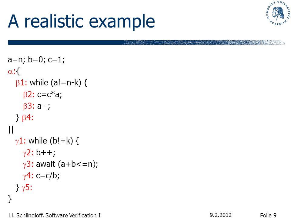 Folie 9 H. Schlingloff, Software Verification I A realistic example a=n; b=0; c=1;  :{  1: while (a!=n-k) {  2: c=c*a;  3: a--; }  4: ||  1: whi