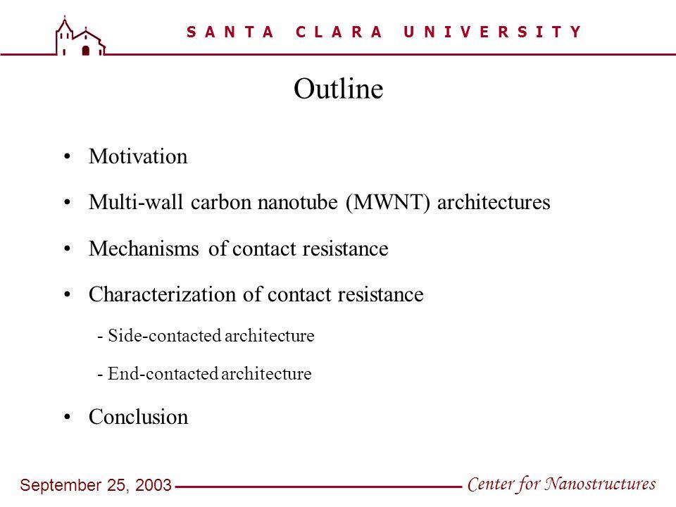 S A N T A C L A R A U N I V E R S I T Y Center for Nanostructures September 25, 2003 Outline Motivation Multi-wall carbon nanotube (MWNT) architecture