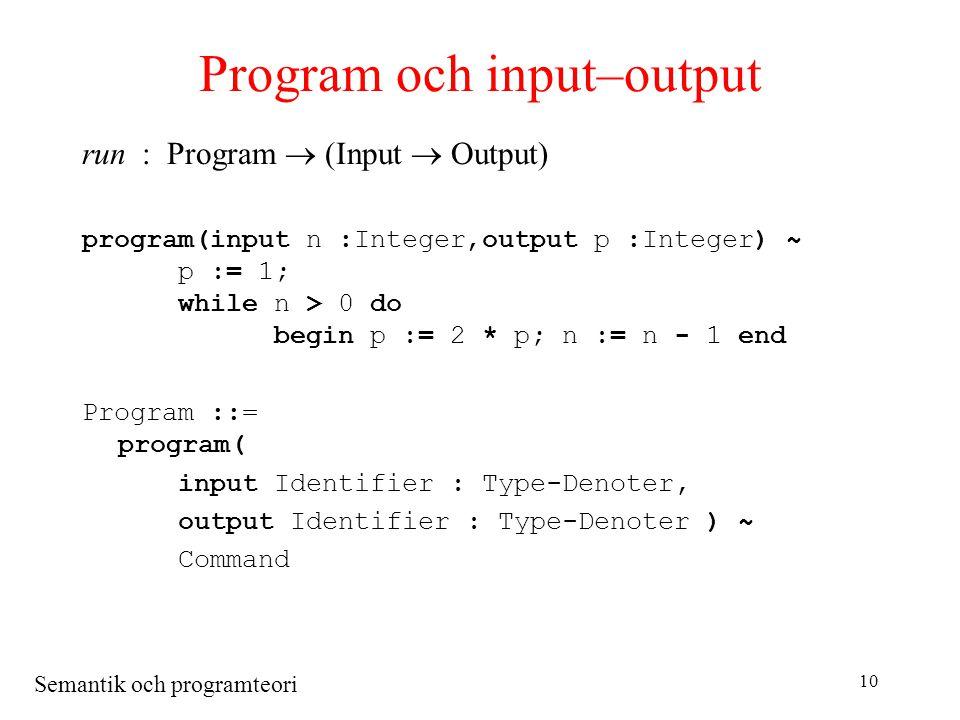 Semantik och programteori 10 Program och input–output run : Program  (Input  Output) program(input n :Integer,output p :Integer) ~ p := 1; while n > 0 do begin p := 2 * p; n := n - 1 end Program ::= program( input Identifier : Type-Denoter, output Identifier : Type-Denoter ) ~ Command