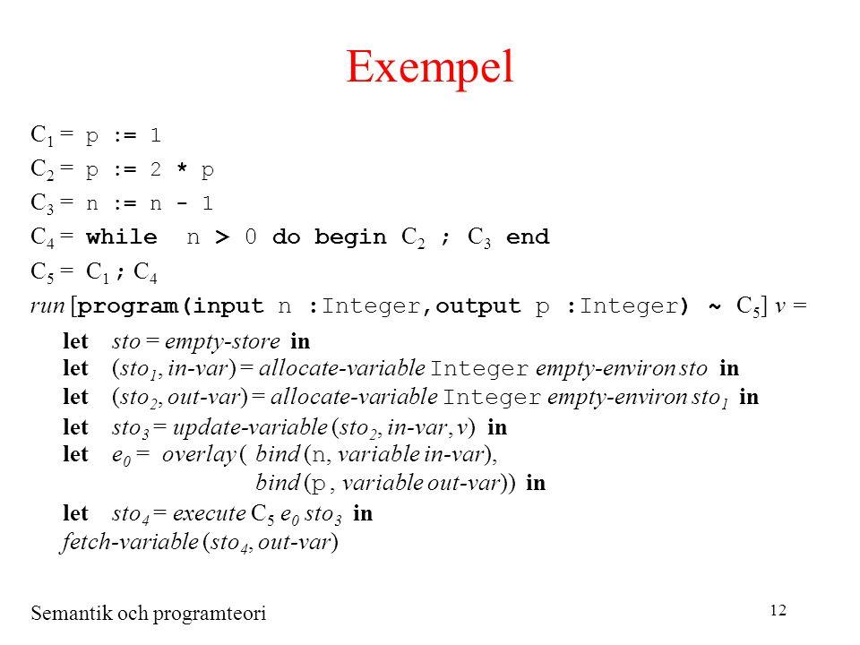 Semantik och programteori 12 Exempel C 1 = p := 1 C 2 = p := 2 * p C 3 = n := n - 1 C 4 = while n > 0 do begin C 2 ; C 3 end C 5 = C 1 ; C 4 run [ program(input n :Integer,output p :Integer) ~ C 5 ] v = letsto = empty-store in let(sto 1, in-var) = allocate-variable Integer empty-environ sto in let(sto 2, out-var) = allocate-variable Integer empty-environ sto 1 in letsto 3 = update-variable (sto 2, in-var, v) in lete 0 = overlay (bind ( n, variable in-var), bind ( p, variable out-var)) in letsto 4 = execute C 5 e 0 sto 3 in fetch-variable (sto 4, out-var)