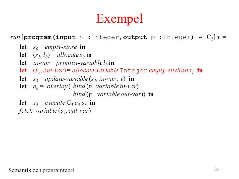 Semantik och programteori 16 Exempel run [ program(input n :Integer,output p :Integer) ~ C 5 ] v = lets 0 = empty-store in let(s 1, l 0 ) = allocate s 0 in letin-var = primitiv-variable l 0 in let(s 2, out-var) = allocate-variable Integer empty-environ s 1 in lets 3 = update-variable (s 2, in-var, v) in lete 0 = overlay (bind ( n, variable in-var), bind ( p, variable out-var)) in lets 4 = execute C 5 e 0 s 3 in fetch-variable (s 4, out-var)