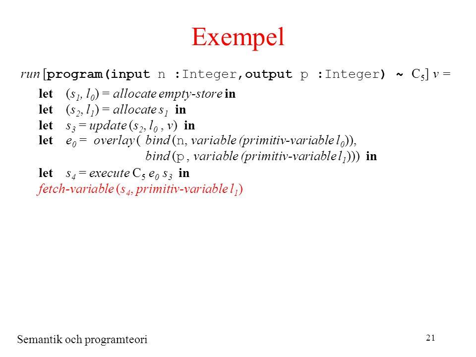 Semantik och programteori 21 Exempel run [ program(input n :Integer,output p :Integer) ~ C 5 ] v = let(s 1, l 0 ) = allocate empty-store in let(s 2, l 1 ) = allocate s 1 in lets 3 = update (s 2, l 0, v) in lete 0 = overlay (bind ( n, variable (primitiv-variable l 0 )), bind ( p, variable (primitiv-variable l 1 ))) in lets 4 = execute C 5 e 0 s 3 in fetch-variable (s 4, primitiv-variable l 1 )