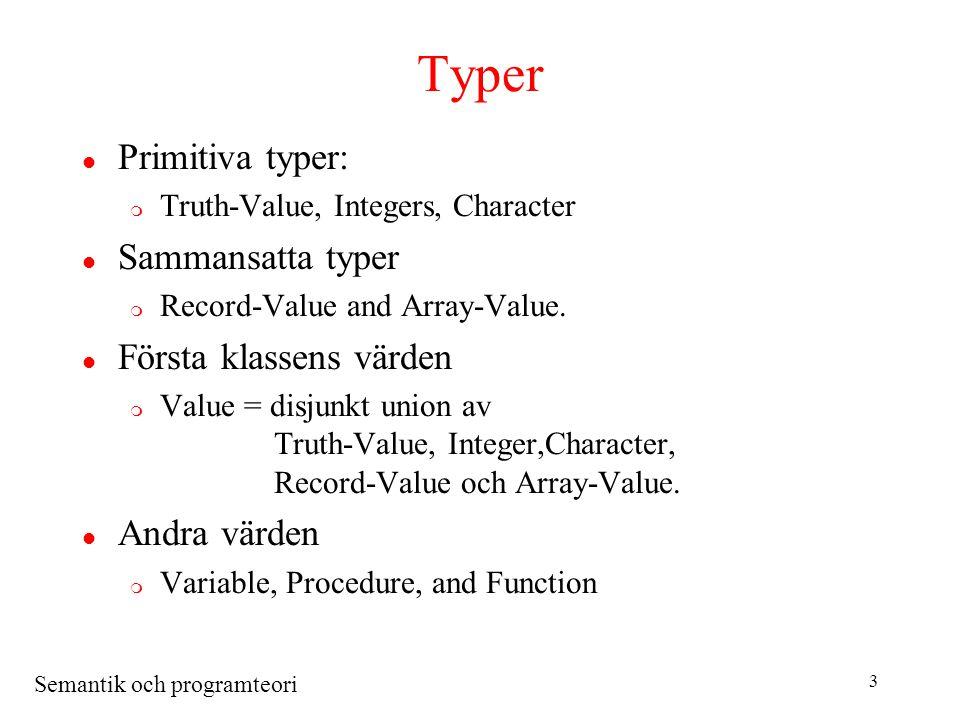 Semantik och programteori 4 Strukturer l Omgivningen m Bindable = disjunkt union av Value, Variable, Procedure, Function och Allocator l Minne (Store) m Storable = disjunkt union av Truth-Value, Integer, Character och Text.