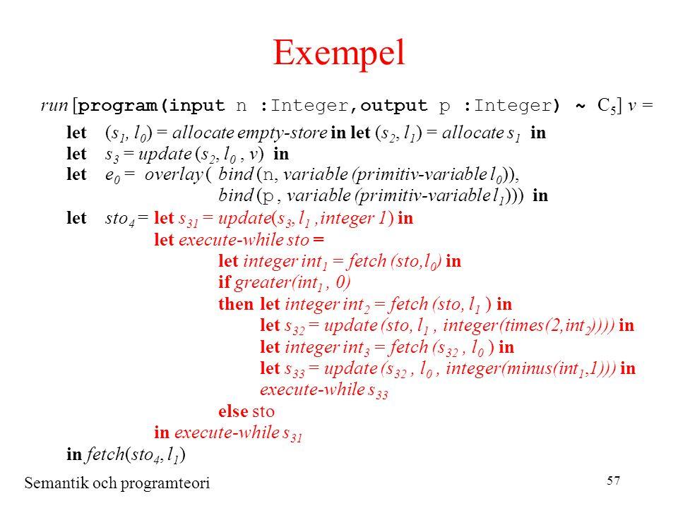 Semantik och programteori 57 Exempel run [ program(input n :Integer,output p :Integer) ~ C 5 ] v = let(s 1, l 0 ) = allocate empty-store in let (s 2, l 1 ) = allocate s 1 in lets 3 = update (s 2, l 0, v) in lete 0 = overlay (bind ( n, variable (primitiv-variable l 0 )), bind ( p, variable (primitiv-variable l 1 ))) in letsto 4 =let s 31 = update(s 3, l 1,integer 1) in let execute-while sto = let integer int 1 = fetch (sto,l 0 ) in if greater(int 1, 0) thenlet integer int 2 = fetch (sto, l 1 ) in let s 32 = update (sto, l 1, integer(times(2,int 2 )))) in let integer int 3 = fetch (s 32, l 0 ) in let s 33 = update (s 32, l 0, integer(minus(int 1,1))) in execute-while s 33 else sto in execute-while s 31 in fetch(sto 4, l 1 )