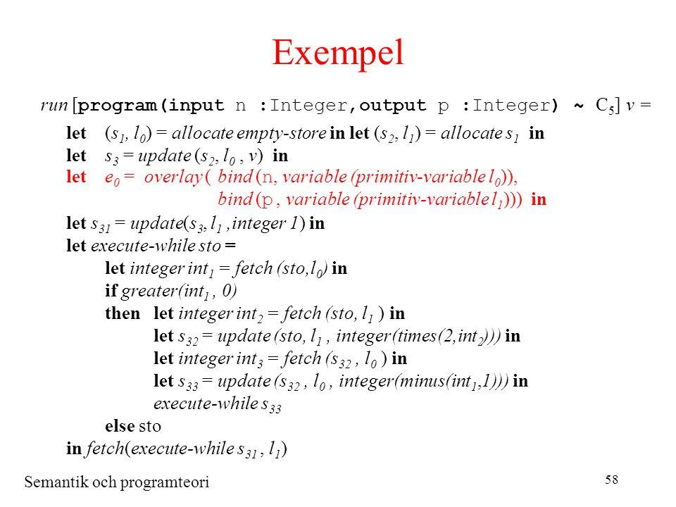 Semantik och programteori 58 Exempel run [ program(input n :Integer,output p :Integer) ~ C 5 ] v = let(s 1, l 0 ) = allocate empty-store in let (s 2, l 1 ) = allocate s 1 in lets 3 = update (s 2, l 0, v) in lete 0 = overlay (bind ( n, variable (primitiv-variable l 0 )), bind ( p, variable (primitiv-variable l 1 ))) in let s 31 = update(s 3, l 1,integer 1) in let execute-while sto = let integer int 1 = fetch (sto,l 0 ) in if greater(int 1, 0) thenlet integer int 2 = fetch (sto, l 1 ) in let s 32 = update (sto, l 1, integer(times(2,int 2 ))) in let integer int 3 = fetch (s 32, l 0 ) in let s 33 = update (s 32, l 0, integer(minus(int 1,1))) in execute-while s 33 else sto in fetch(execute-while s 31, l 1 )