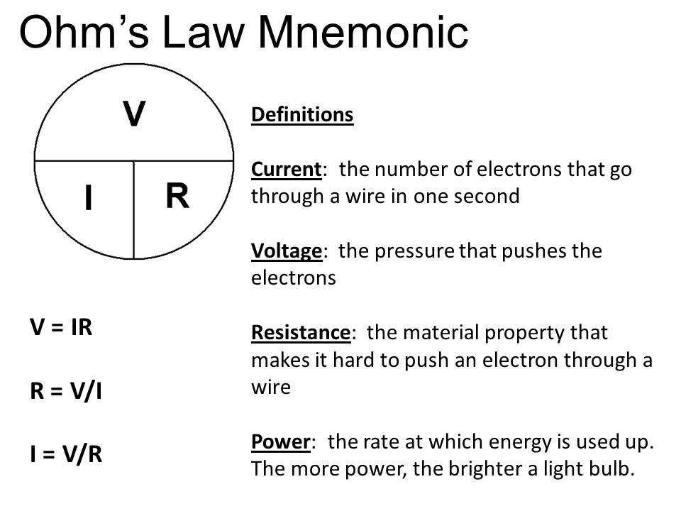 Ohm's Law Mnemonic Definitions Current: the number of electrons that go through a wire in one second Voltage: the pressure that pushes the electrons Resistance: the material property that makes it hard to push an electron through a wire Power: the rate at which energy is used up.