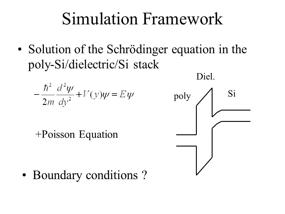 Simulation Framework Solution of the Schrödinger equation in the poly-Si/dielectric/Si stack poly Diel.