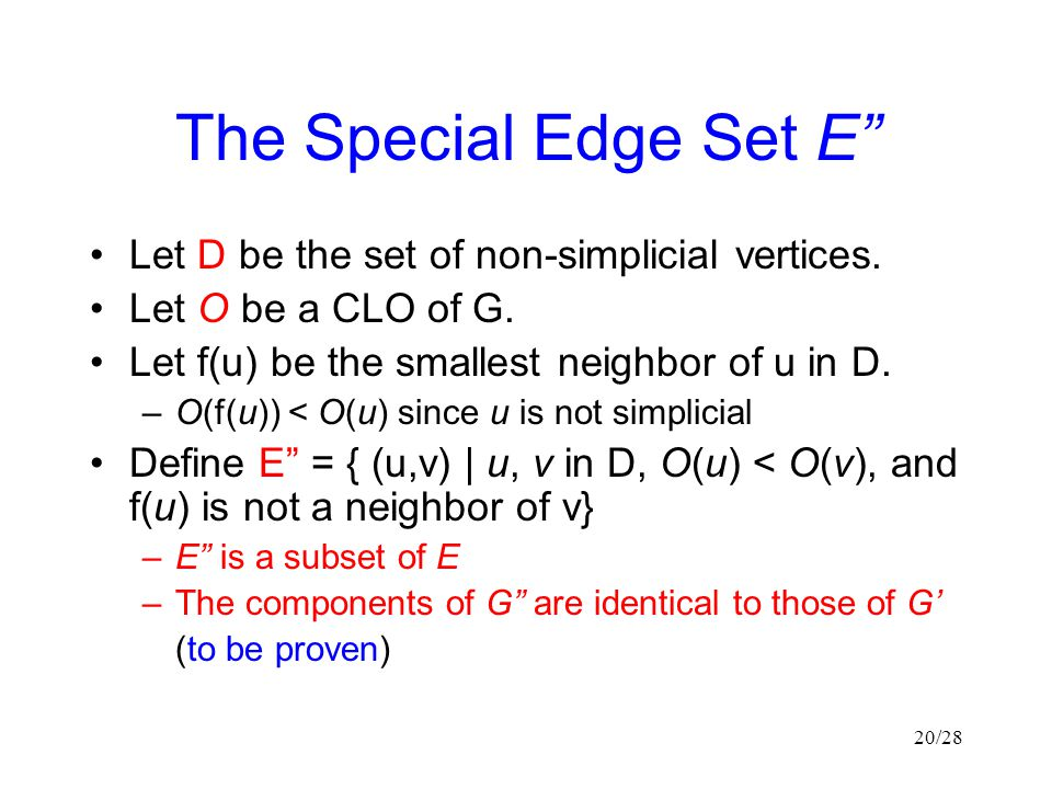 20/28 The Special Edge Set E Let D be the set of non-simplicial vertices.