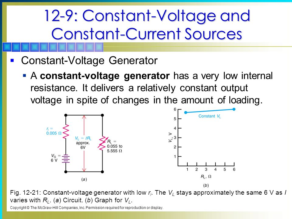 12-9: Constant-Voltage and Constant-Current Sources  Constant-Voltage Generator  A constant-voltage generator has a very low internal resistance.