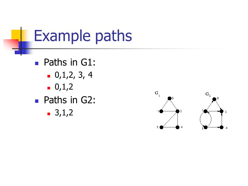 Example paths Paths in G1: 0,1,2, 3, 4 0,1,2 Paths in G2: 3,1,2