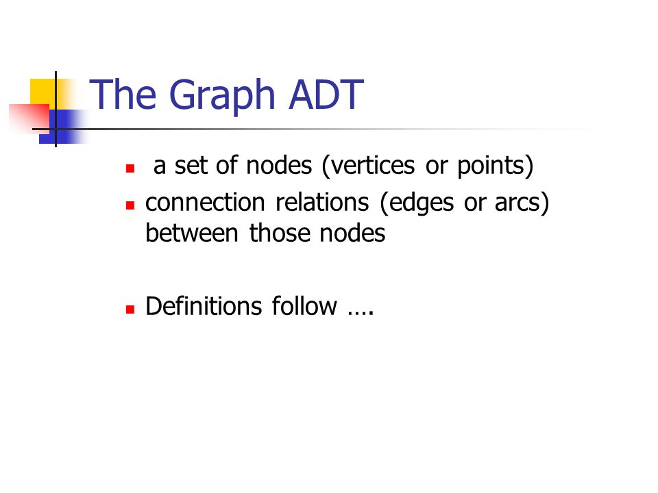 The Graph ADT a set of nodes (vertices or points) connection relations (edges or arcs) between those nodes Definitions follow ….