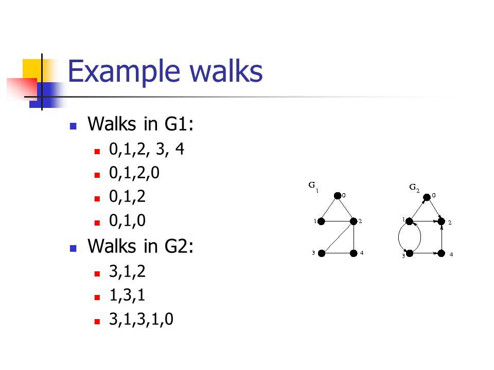 Example walks Walks in G1: 0,1,2, 3, 4 0,1,2,0 0,1,2 0,1,0 Walks in G2: 3,1,2 1,3,1 3,1,3,1,0