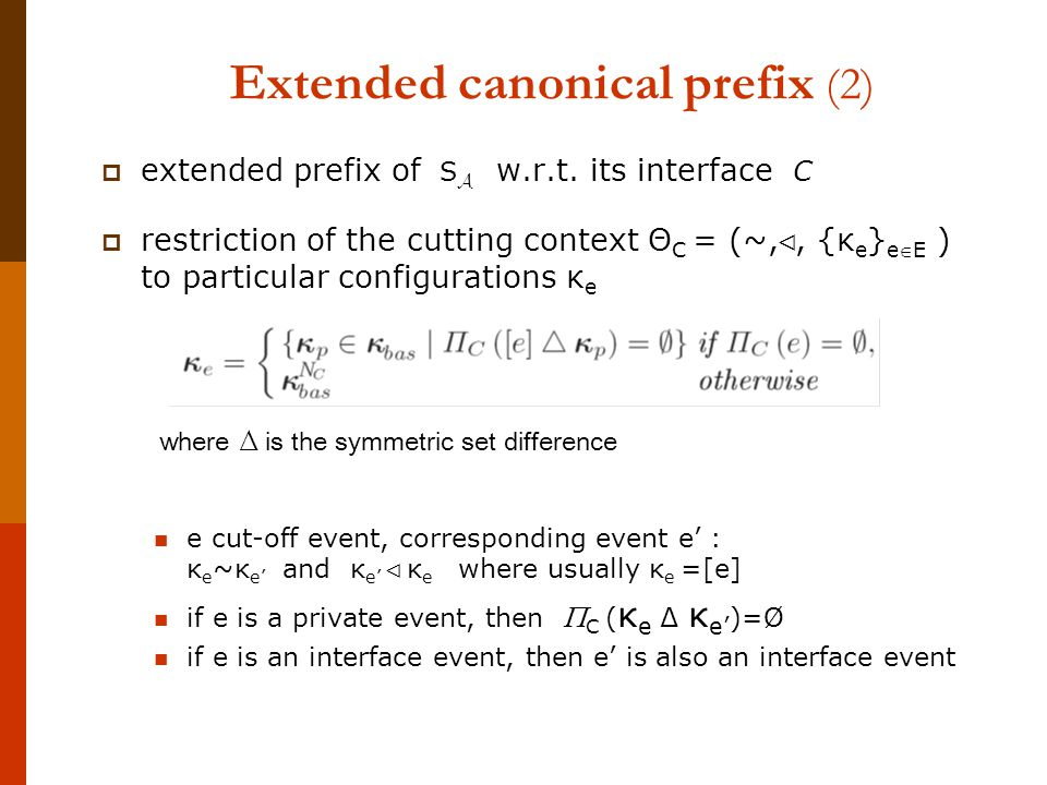 Extended canonical prefix (2)  extended prefix of w.r.t.