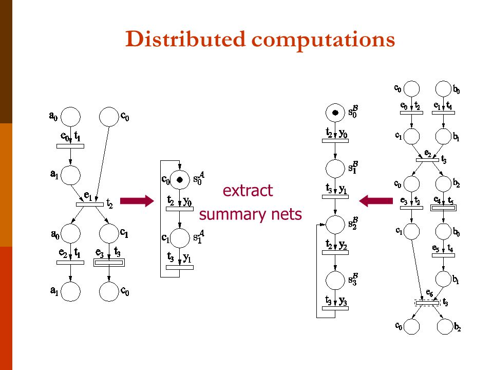 Distributed computations extract summary nets