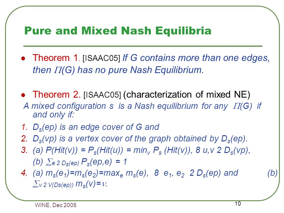 WINE, Dec 2005 10 Pure and Mixed Nash Equilibria Theorem 1.