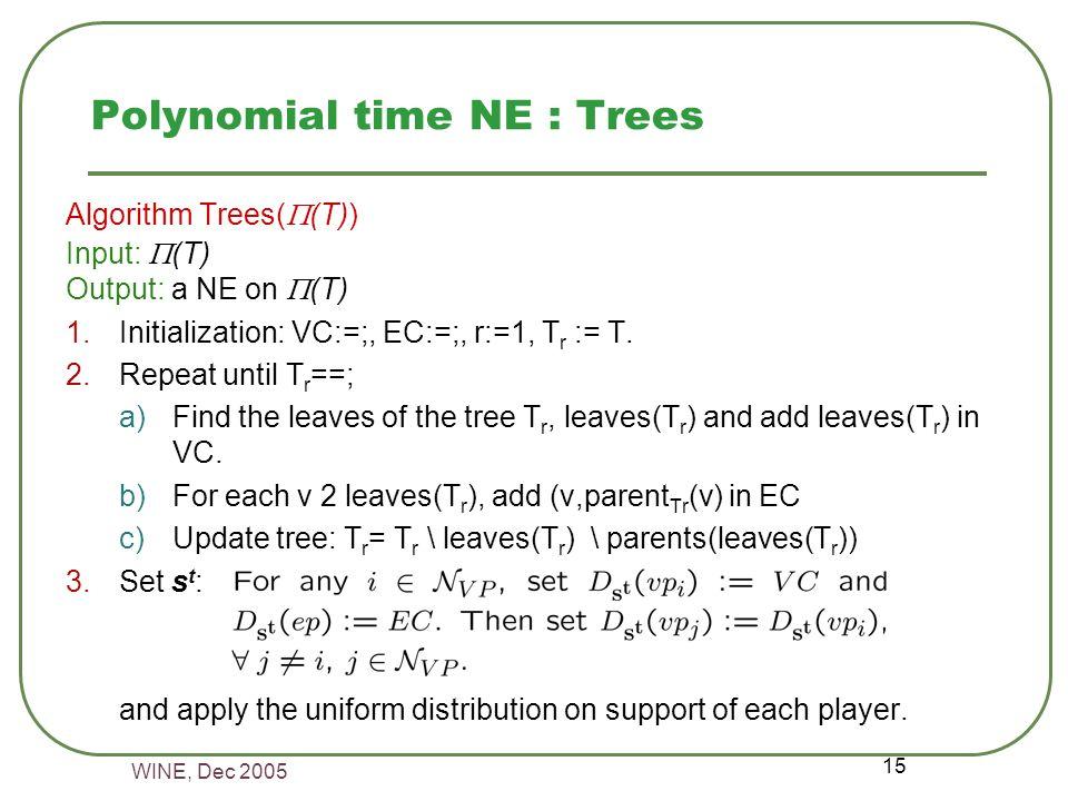WINE, Dec 2005 15 Polynomial time NE : Trees Algorithm Trees(  (T)) Input:  (T) Output: a NE on  (T) 1.Initialization: VC:=;, EC:=;, r:=1, T r := T.