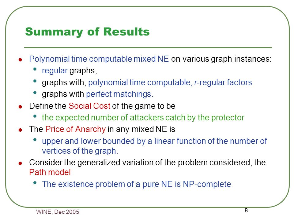 WINE, Dec 2005 8 Summary of Results Polynomial time computable mixed NE on various graph instances: regular graphs, graphs with, polynomial time computable, r-regular factors graphs with perfect matchings.