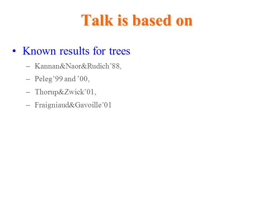 Labeling trees with -bit labels T H Construct for H Depth of NCA labeling scheme ( -bit labels Then, v  A(v) Hence, -bit labels