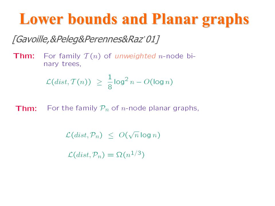 Lower bounds and Planar graphs [Gavoille,&Peleg&Perennes&Raz ' 01]