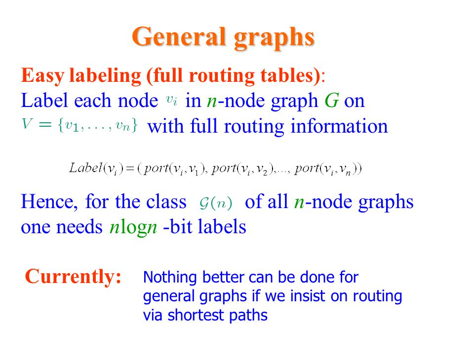 General graphs Distance Easy labeling (full routing tables): Label each node in n-node graph G on with full routing information Hence, for the class o
