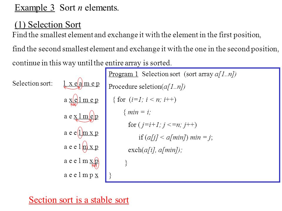Example 3 Sort n elements.