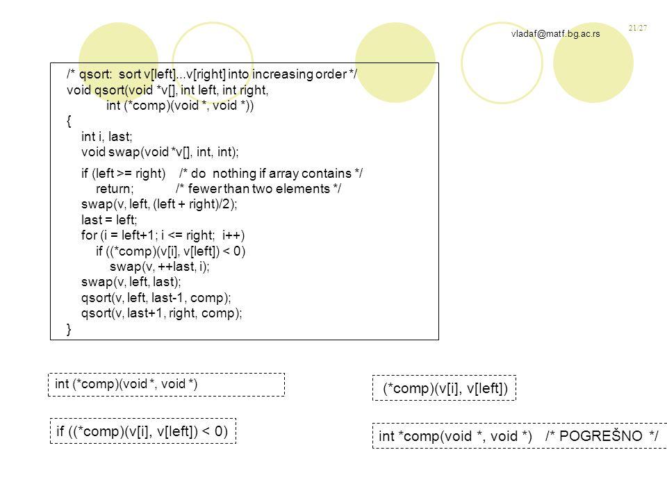 21/27 vladaf@matf.bg.ac.rs /* qsort: sort v[left]...v[right] into increasing order */ void qsort(void *v[], int left, int right, int (*comp)(void *, void *)) { int i, last; void swap(void *v[], int, int); if (left >= right) /* do nothing if array contains */ return; /* fewer than two elements */ swap(v, left, (left + right)/2); last = left; for (i = left+1; i <= right; i++) if ((*comp)(v[i], v[left]) < 0) swap(v, ++last, i); swap(v, left, last); qsort(v, left, last-1, comp); qsort(v, last+1, right, comp); } int (*comp)(void *, void *) if ((*comp)(v[i], v[left]) < 0) (*comp)(v[i], v[left]) int *comp(void *, void *) /* POGREŠNO */