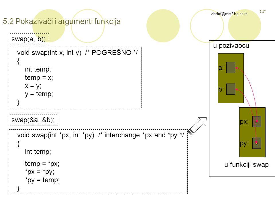 3/27 vladaf@matf.bg.ac.rs 5.2 Pokazivači i argumenti funkcija swap(a, b); void swap(int x, int y) /* POGREŠNO */ { int temp; temp = x; x = y; y = temp; } swap(&a, &b); void swap(int *px, int *py) /* interchange *px and *py */ { int temp; temp = *px; *px = *py; *py = temp; } b: a: py: px: u pozivaocu u funkciji swap