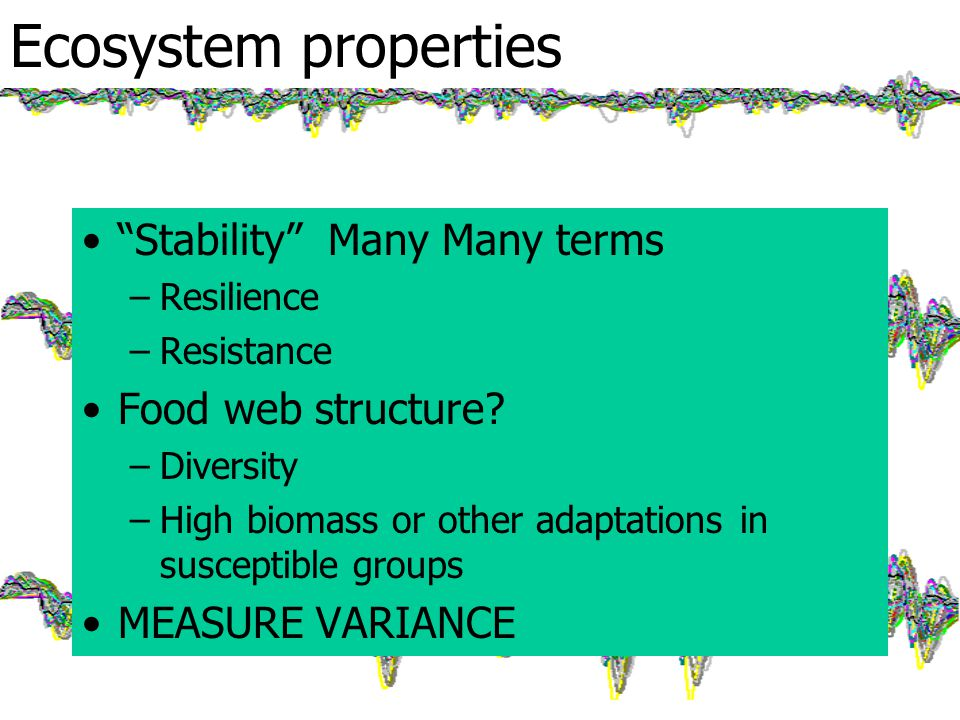 Ecosystem properties Stability Many Many terms –Resilience –Resistance Food web structure.
