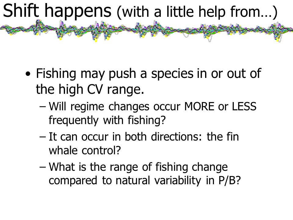 Shift happens (with a little help from…) Fishing may push a species in or out of the high CV range.