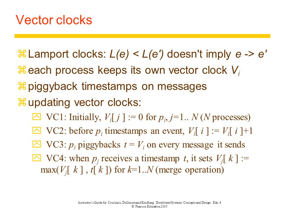 Instructor's Guide for Coulouris, Dollimore and Kindberg Distributed Systems: Concepts and Design Edn. 4 © Pearson Education 2005 Vector clocks zLampo