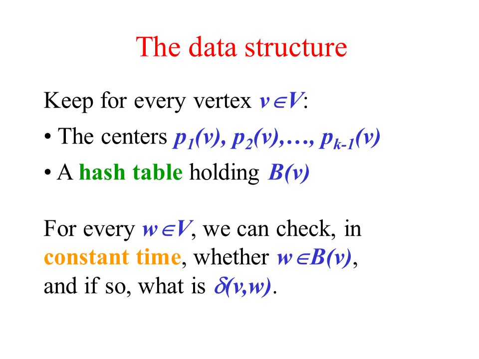 The data structure Keep for every vertex v  V: The centers p 1 (v), p 2 (v),…, p k-1 (v) A hash table holding B(v) For every w  V, we can check, in constant time, whether w  B(v), and if so, what is  (v,w).
