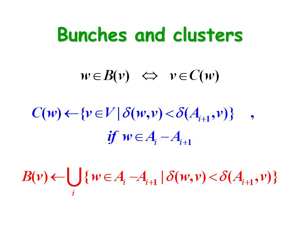 Bunches and clusters