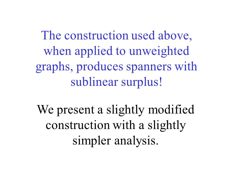 The construction used above, when applied to unweighted graphs, produces spanners with sublinear surplus.