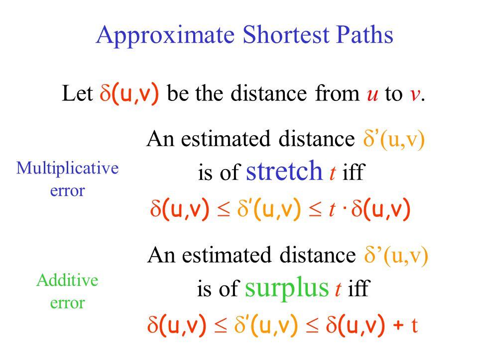 An estimated distance  ' (u,v) is of stretch t iff  (u,v)   '(u,v)  t ·  (u,v) An estimated distance  '(u,v) is of surplus t iff  (u,v)   '(u,v)   (u,v) + t Approximate Shortest Paths Let  (u,v) be the distance from u to v.