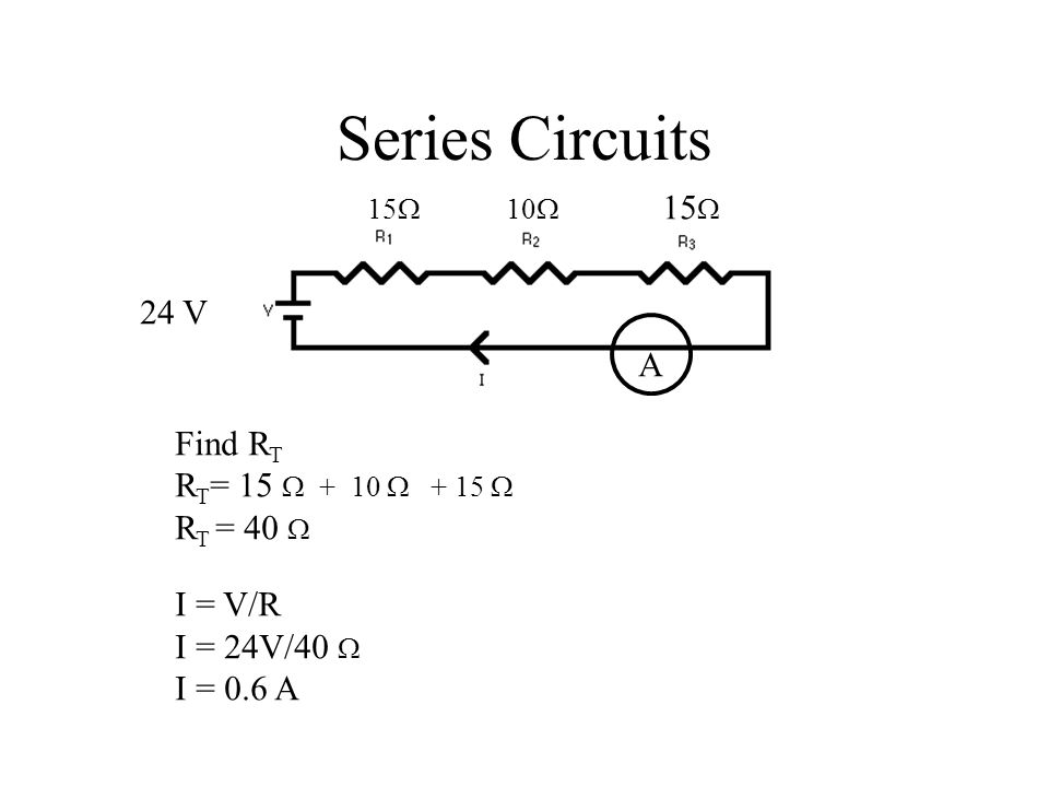 Series Circuits 15  10  15  24 V Find R T R T = 15  + 10  + 15  R T = 40  I = V/R I = 24V/40  I = 0.6 A A