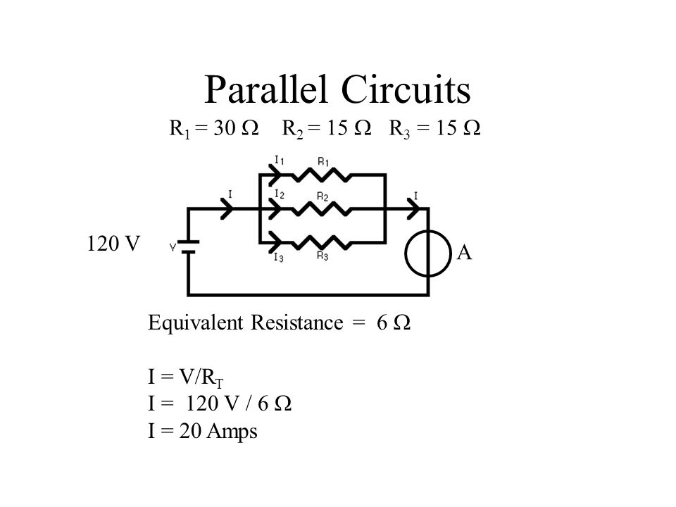 Parallel Circuits Equivalent Resistance = 6  I = V/R T I = 120 V / 6  I = 20 Amps R 1 = 30  R 2 = 15  R 3 = 15  120 V A