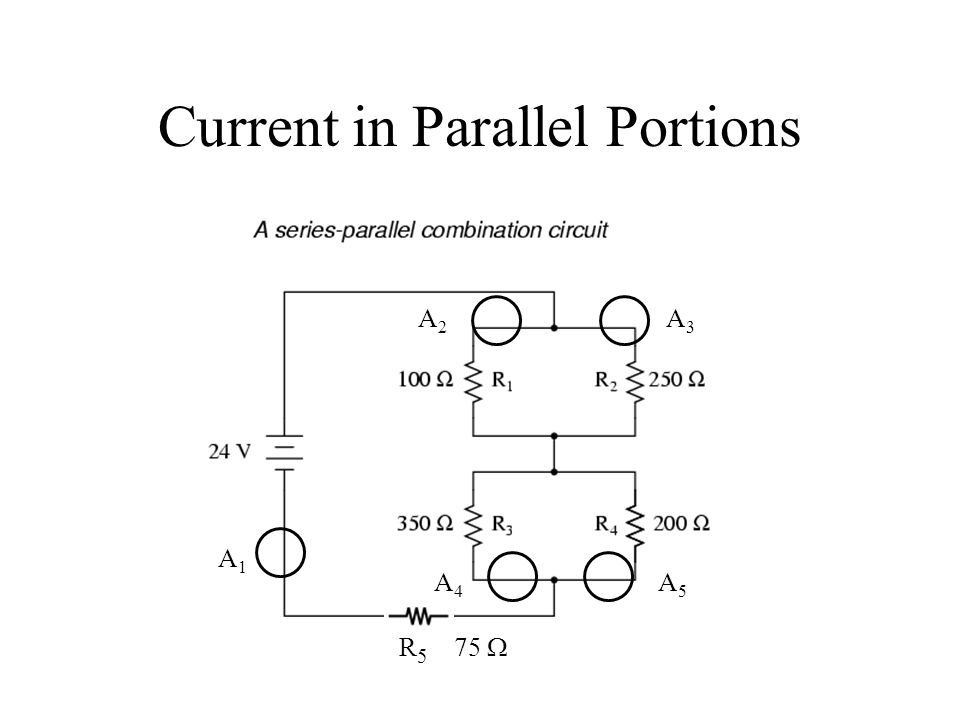 Current in Parallel Portions R 5 75  A1A1 A2A2 A3A3 A4A4 A5A5