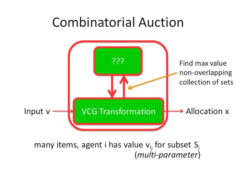 i2i2 i2i2 Combinatorial Auction many items, agent i has value v ij for subset S j i1i1 i1i1 i2i2 i2i2 i3i3 i3i3 (multi-parameter)