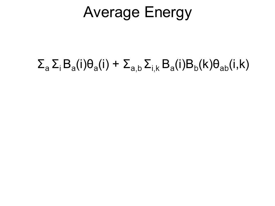 Average Energy Σ a Σ i B a (i)θ a (i) + Σ a,b Σ i,k B a (i)B b (k)θ ab (i,k)