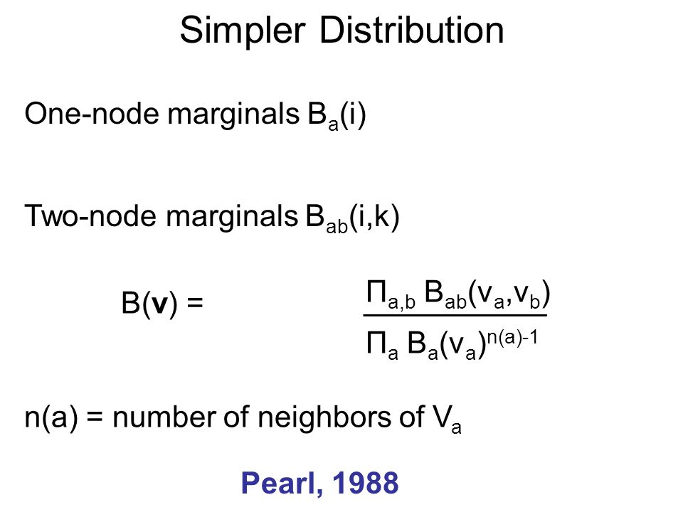 Simpler Distribution One-node marginals B a (i) Two-node marginals B ab (i,k) B(v) = Π a,b B ab (v a,v b ) Π a B a (v a ) n(a)-1 Pearl, 1988 n(a) = number of neighbors of V a
