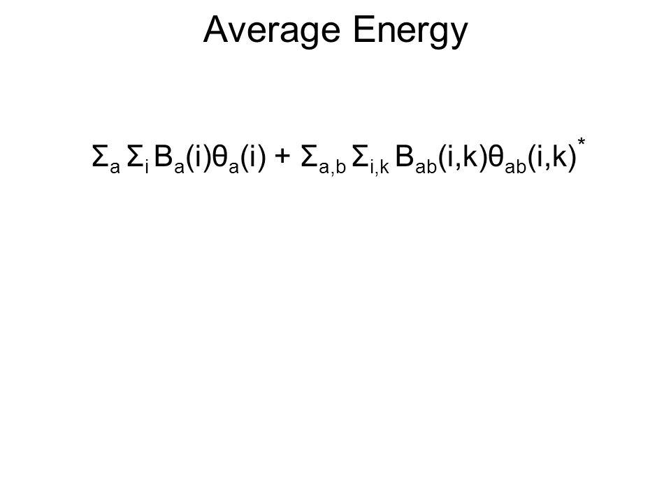 Average Energy Σ a Σ i B a (i)θ a (i) + Σ a,b Σ i,k B ab (i,k)θ ab (i,k) *