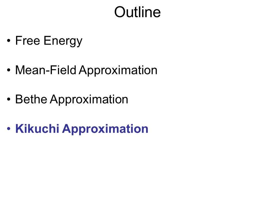 Outline Free Energy Mean-Field Approximation Bethe Approximation Kikuchi Approximation