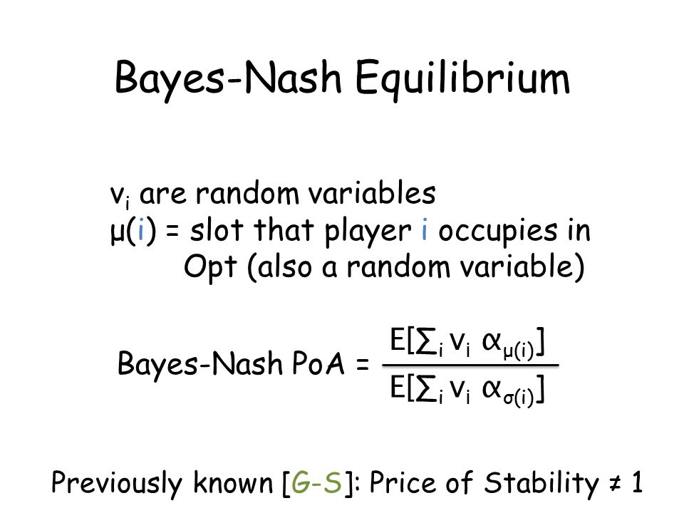 v i are random variables μ(i) = slot that player i occupies in Opt (also a random variable) Bayes-Nash PoA = Bayes-Nash Equilibrium E[ ∑ i v i α μ(i) ] E[ ∑ i v i α σ(i) ] Previously known [G-S]: Price of Stability ≠ 1