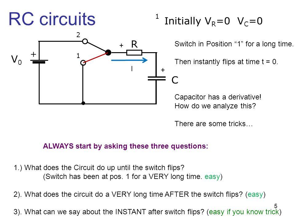 """RC circuits + V0V0 R C 1 2 Initially V R =0 V C =0 1 Switch in Position """"1"""" for a long time. Then instantly flips at time t = 0. Capacitor has a deriv"""