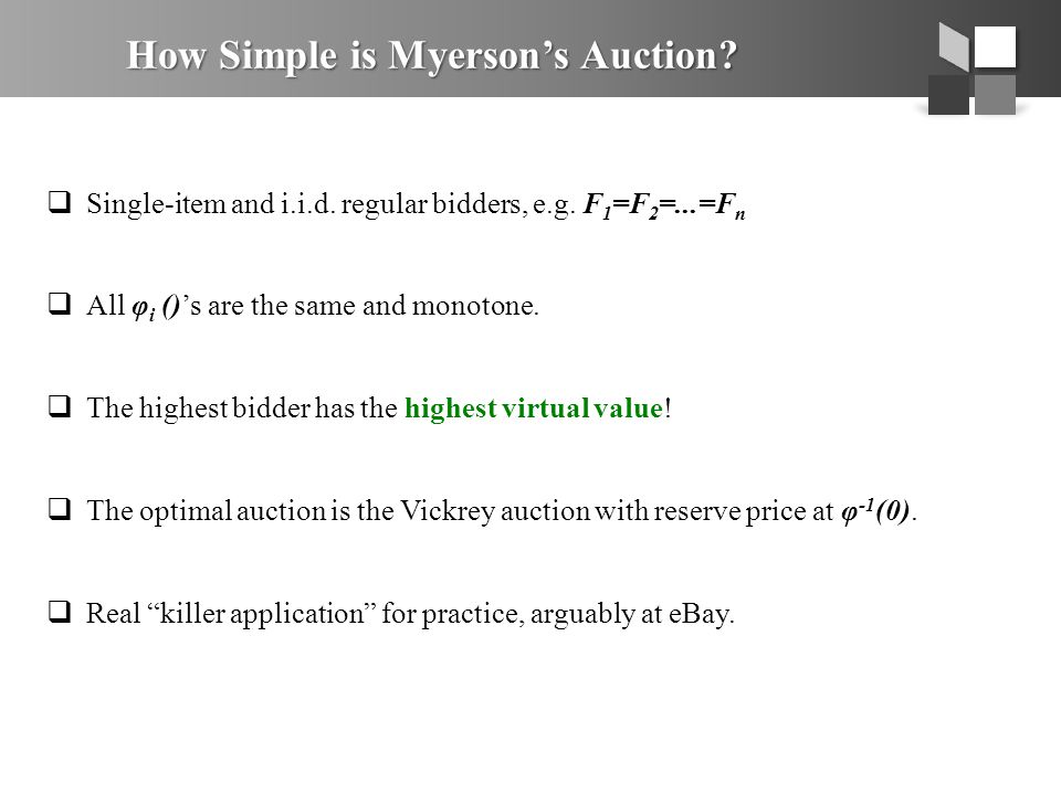 Proof of Bulow-Klemperer Consider another auction M with n+1 bidders: 1.Run Myerson on the first n bidders.
