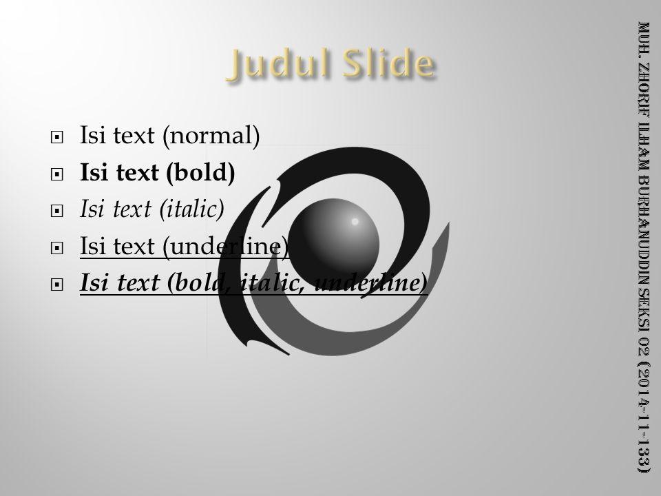 Muh. Zhorif Ilham Burhanuddin Seksi 02 (2014-11-133)  Isi text (normal)  Isi text (bold)  Isi text (italic)  Isi text (underline)  Isi text (bold