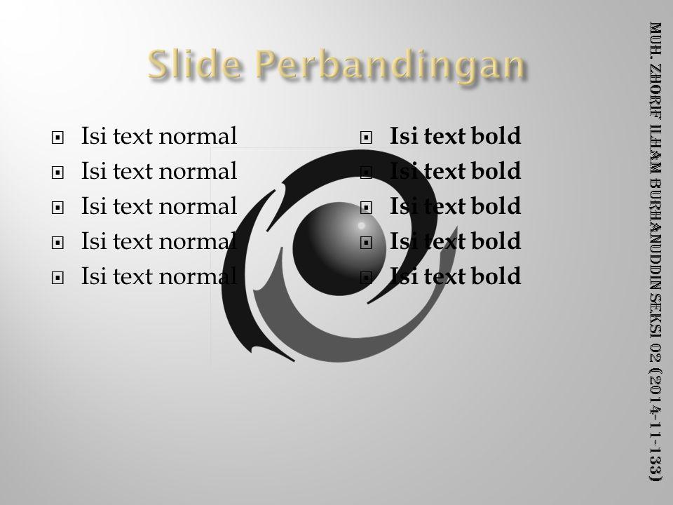 Muh. Zhorif Ilham Burhanuddin Seksi 02 (2014-11-133)  Isi text normal  Isi text bold