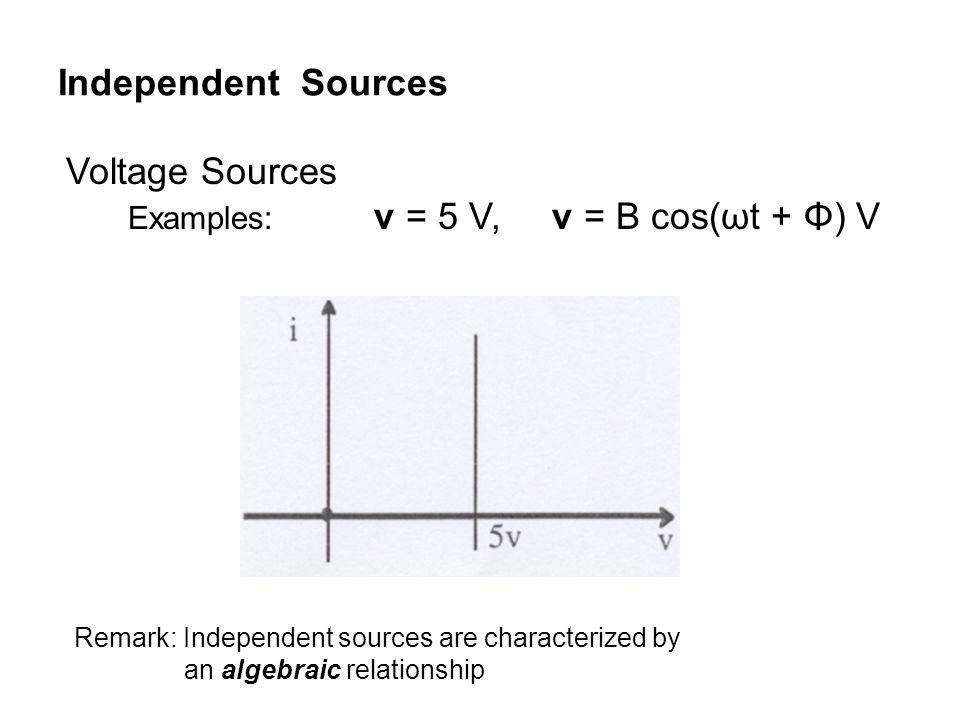 Independent Sources Voltage Sources Examples: v = 5 V, v = B cos(ωt + Φ) V Remark: Independent sources are characterized by an algebraic relationship