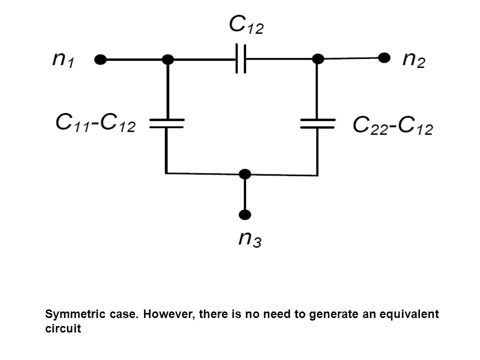 Symmetric case. However, there is no need to generate an equivalent circuit
